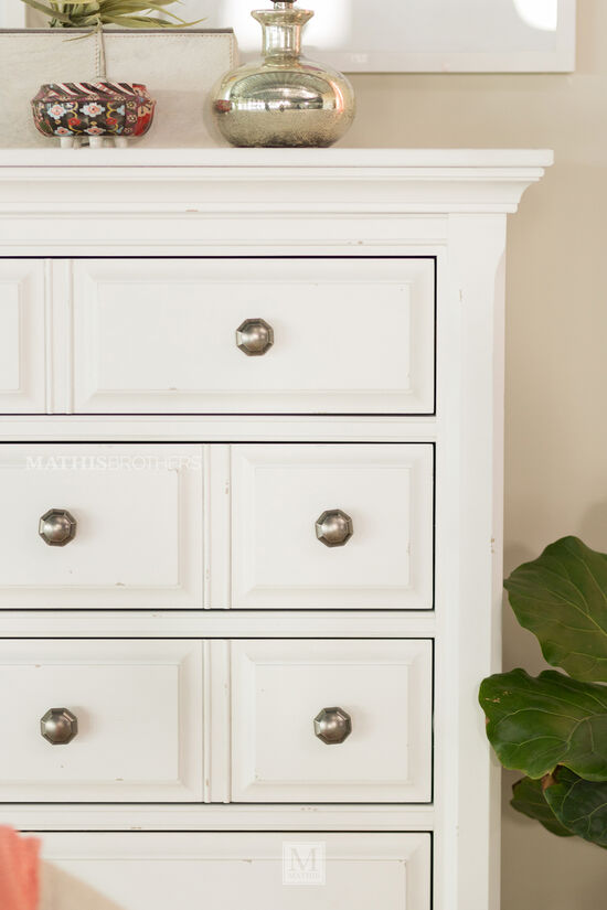 Five-Drawer Traditional Chest in White