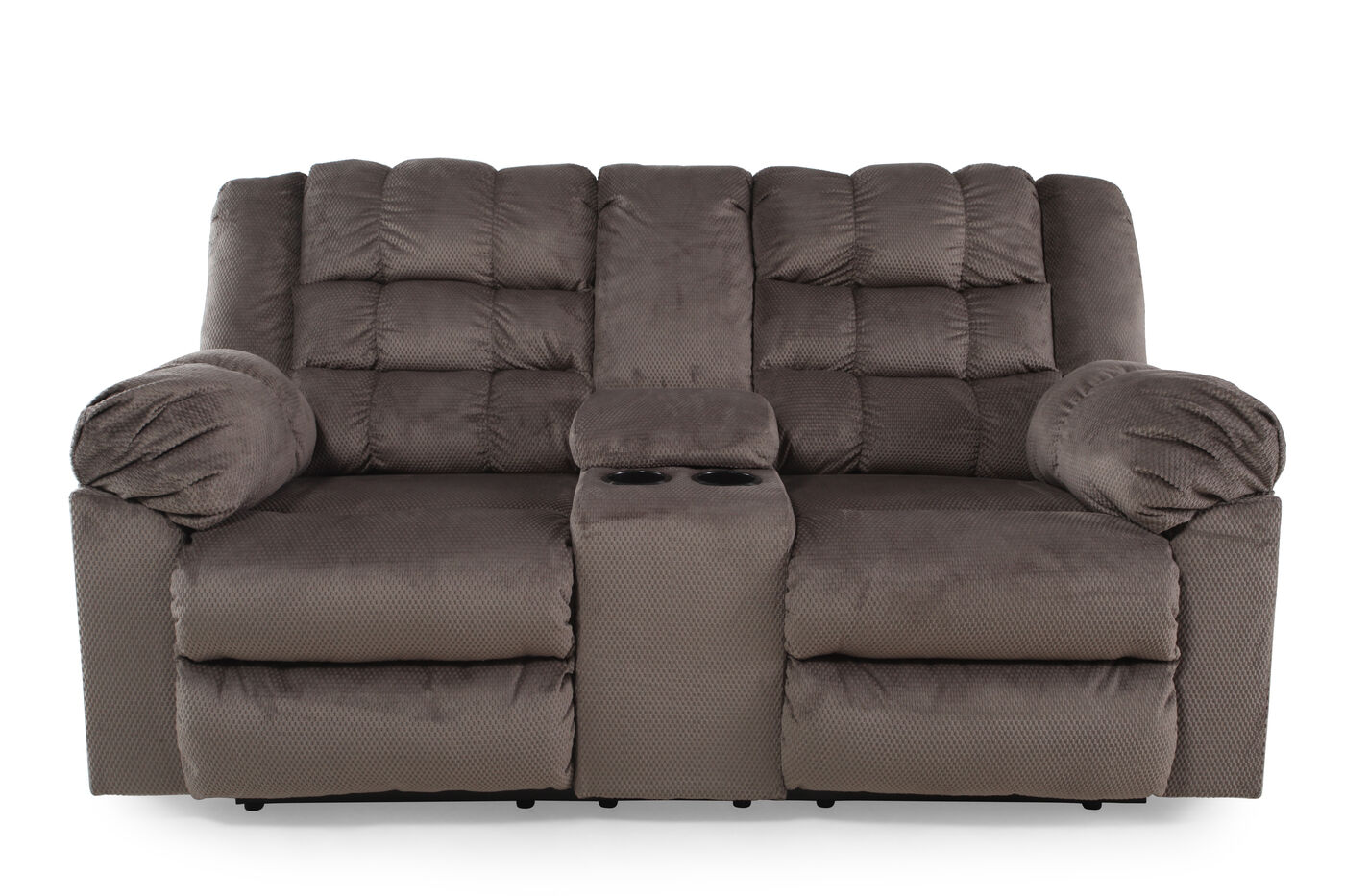 Reclining Rustic Farmhouse 76 Loveseat With Console In Charcoal Mathis Brothers Furniture