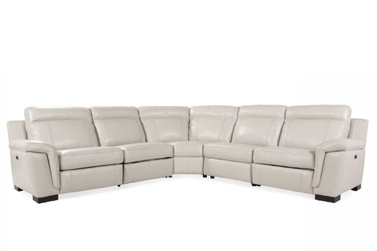 Five-Piece Contemporary Power Reclining Sectional in White