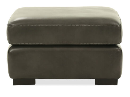 "Casual 29"" Leather Ottoman in Gray"