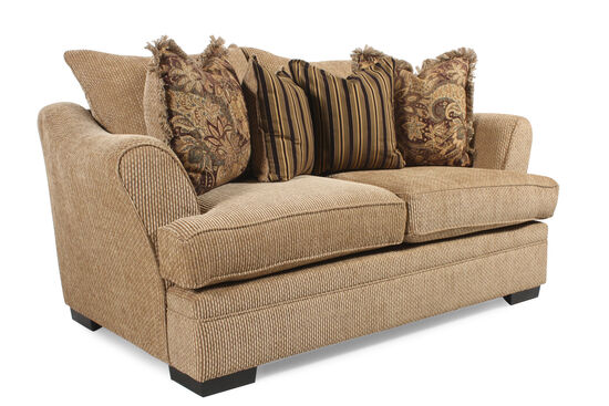 """Textured Traditional 75"""" Loveseat in Nutmeg Brown"""