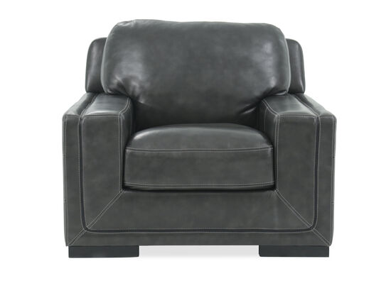 "Traditional Leather 45"" Chair in Pewter Gray"