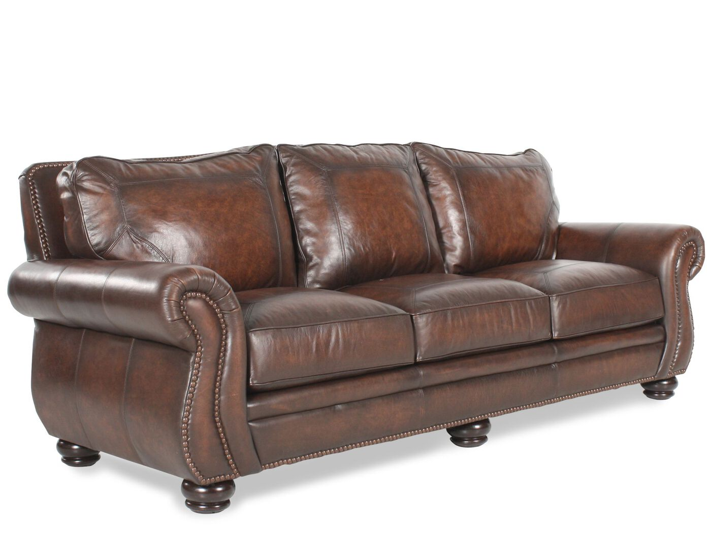 "nailhead-accented leather 100"" sofa in brown 