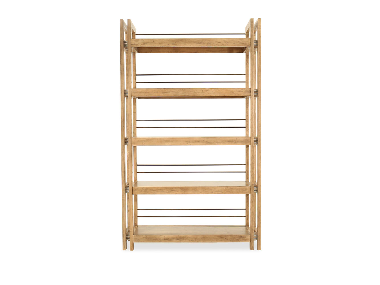 five shelf metal accented etagere in light maple mathis brothers furniture. Black Bedroom Furniture Sets. Home Design Ideas