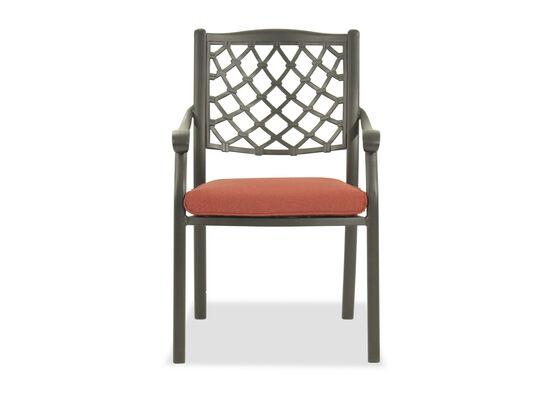 Lattice-Back Aluminum Patio Side Chair in Black