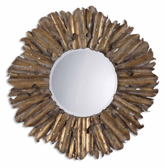 43'' Hand Hammered Frame Accent Mirror in Antiqued Gold