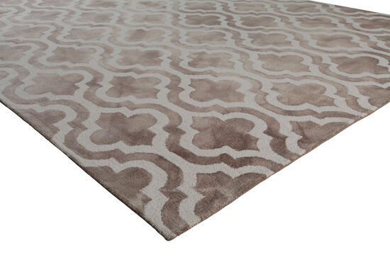 LBJ Hand Tufted Wool Beige Geometric Rug