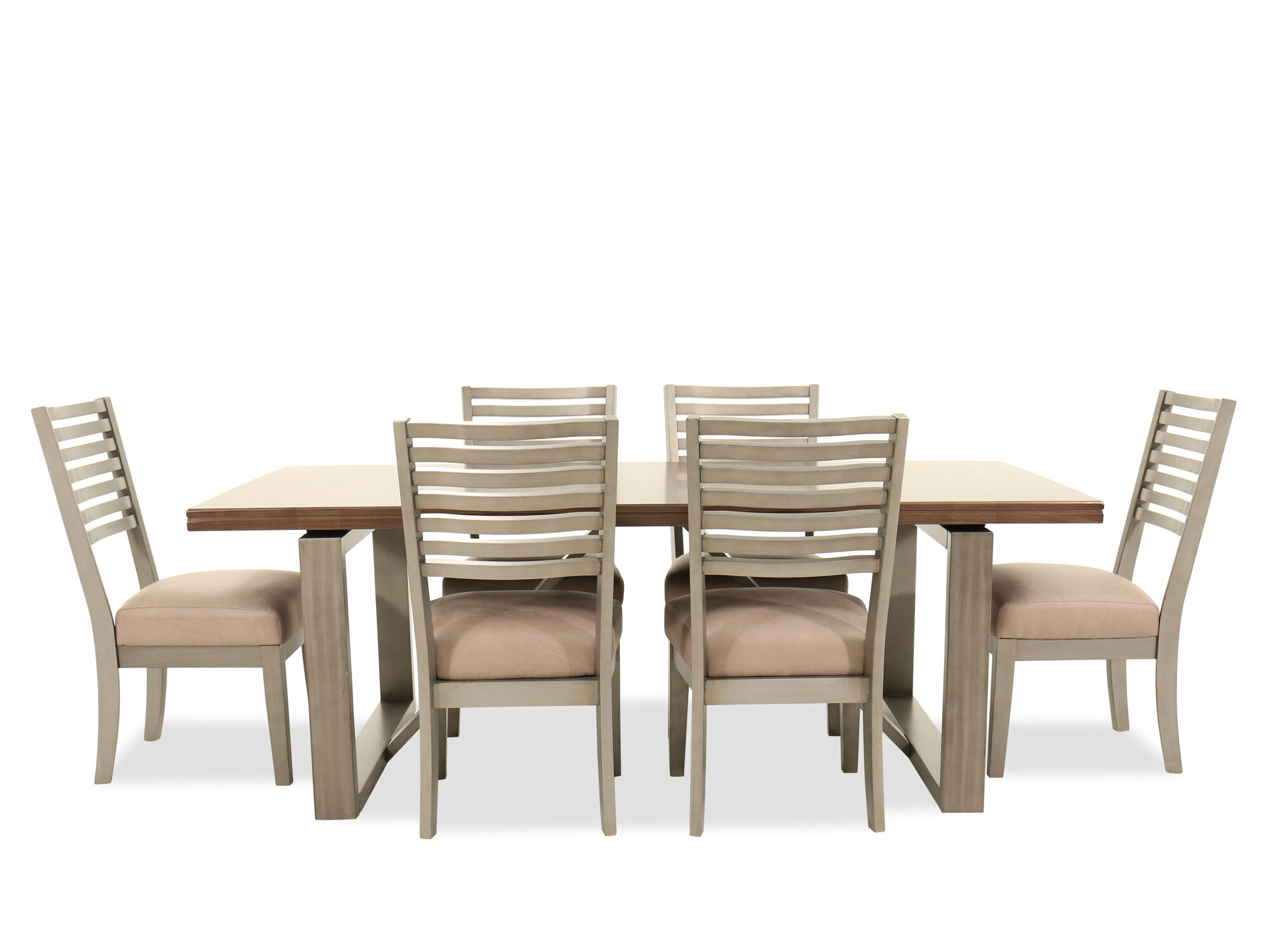 Exceptional Images Seven Piece Modern Dining Set In Cream Seven Piece Modern Dining Set  In Cream