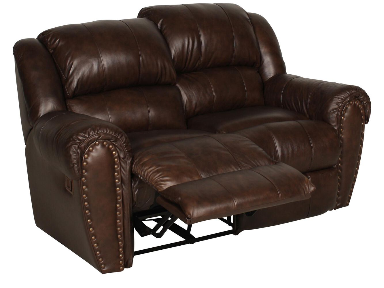 Reclining leather 66 loveseat in deep brown mathis for Furniture 66 long lane liverpool