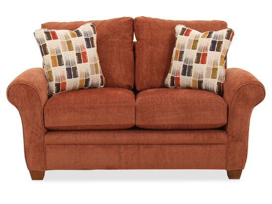 Rolled Arm Casual 63.5'' Loveseat in Cinnamon