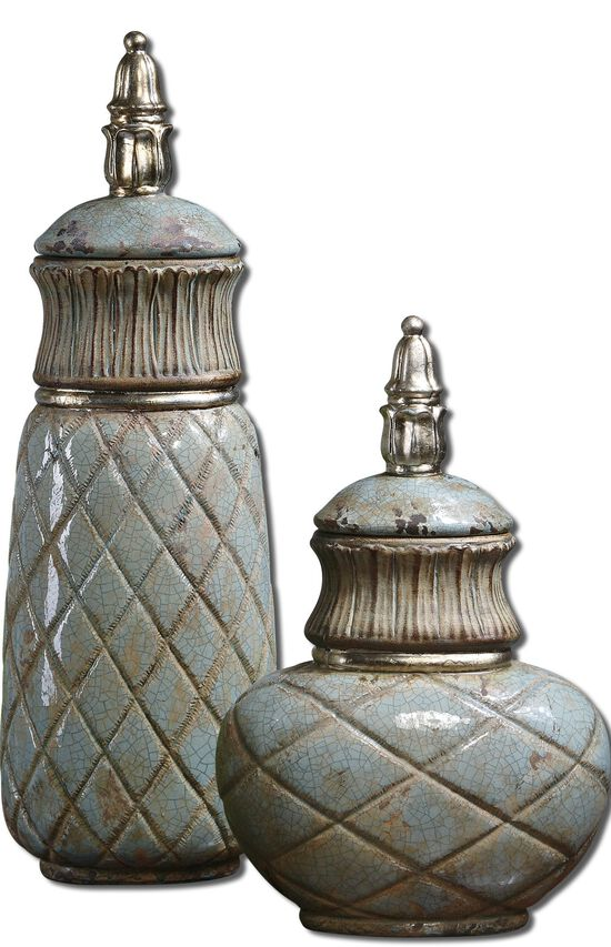 Two-Piece Diamond Patterned Containers in Sea Foam Green