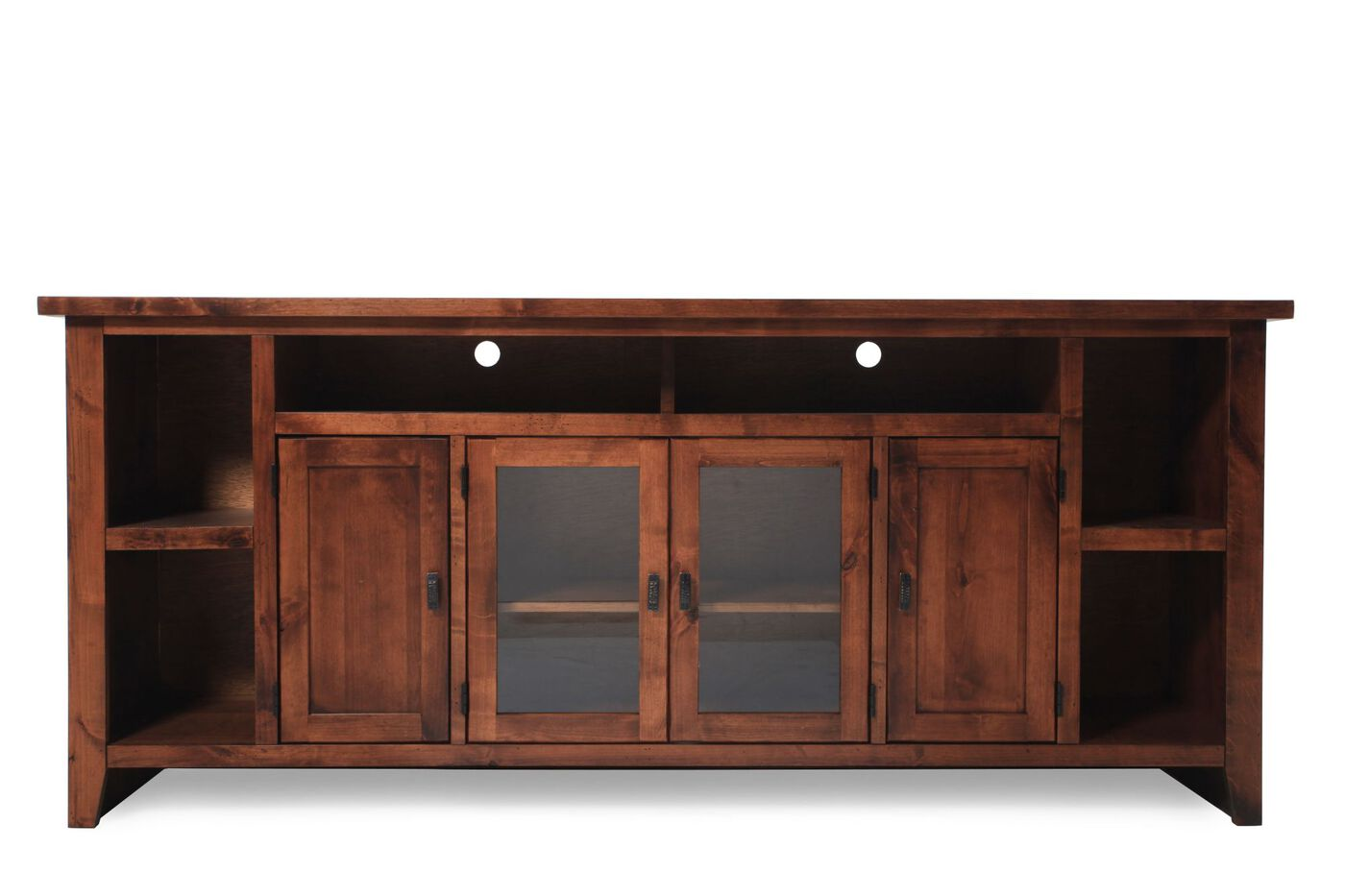 Two Glass Door Casual Entertainment Console In Warm Fruitwood