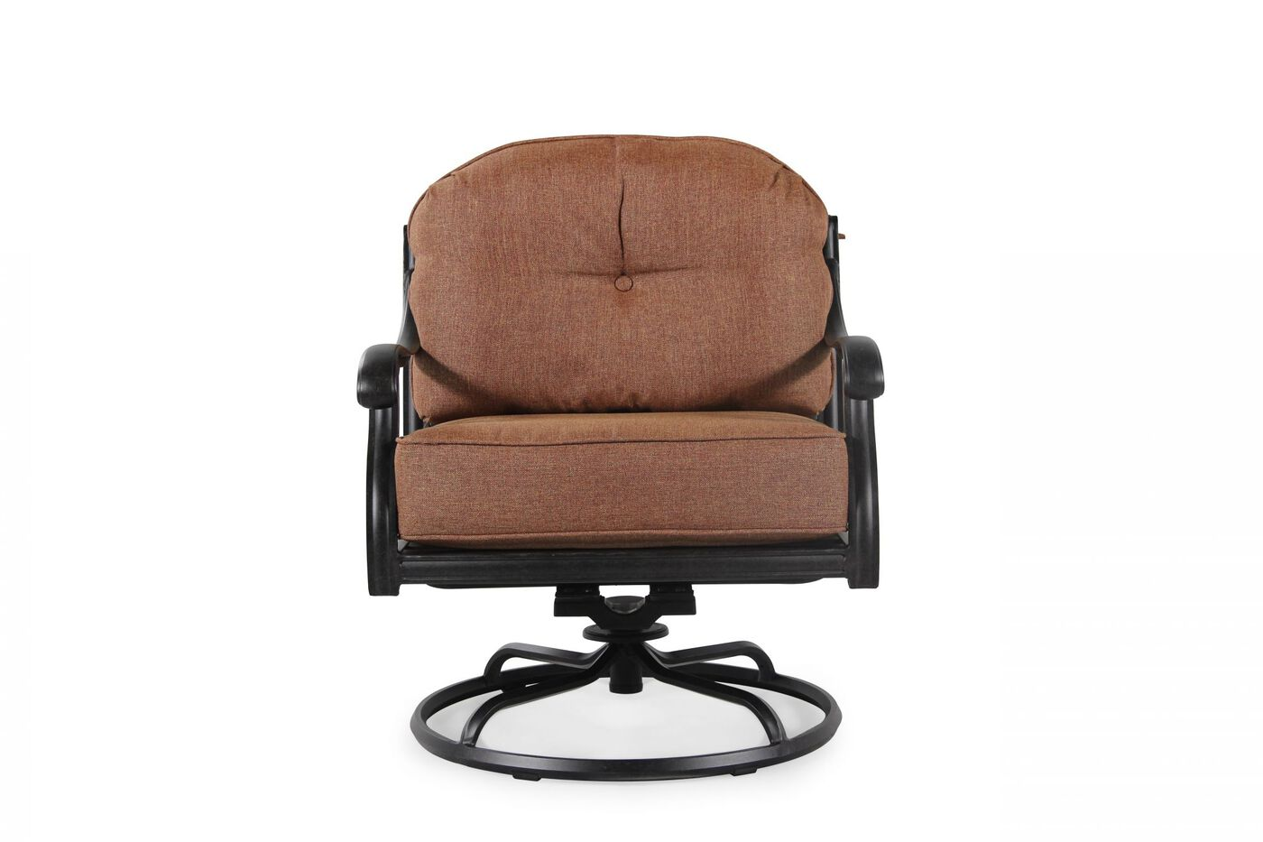 Button Tufted Aluminum Patio Swivel Club Chair In Brown
