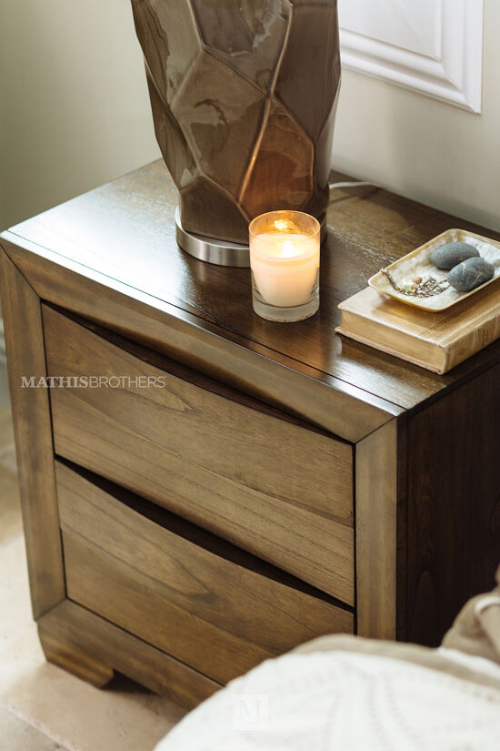"""26.5"""" Contemporary Two-Drawer Nightstand in Brown"""