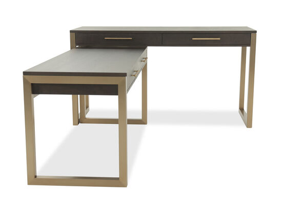 "68"" Two-Piece Contemporary Desk in Brown"