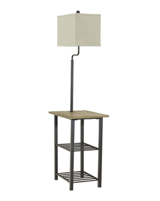 Casual Two-Shelf Tray Floor Lamp in Black