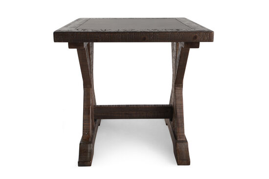 Casual Trestle Base End Table in Brown