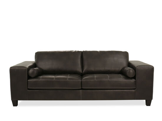 """Contemporary 95"""" Leather Sofa in Charcoal Gray"""