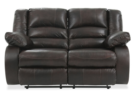 """Reclining Contemporary Leather 64"""" Loveseat in Brown"""