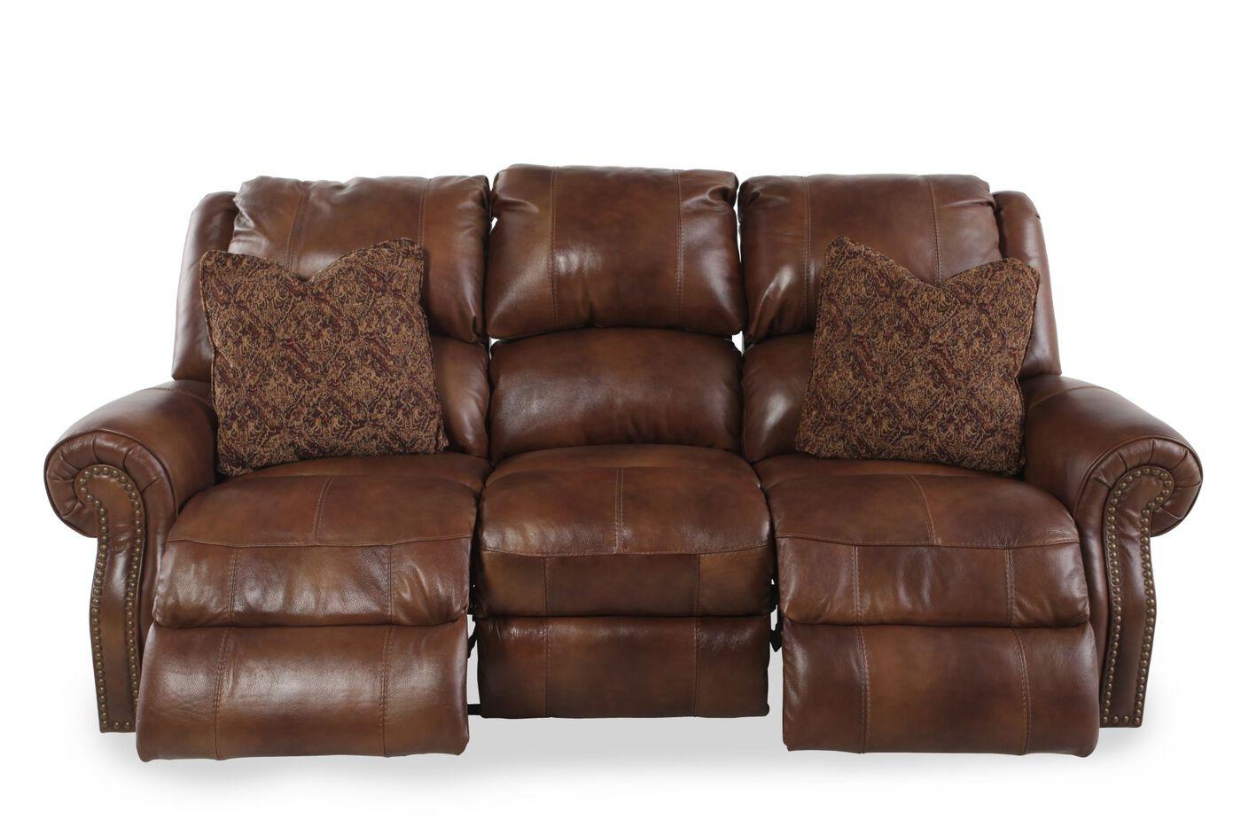 Traditional Power Reclining Sofa In Auburn Brown Mathis Brothers  ~ Traditional Reclining Sofa