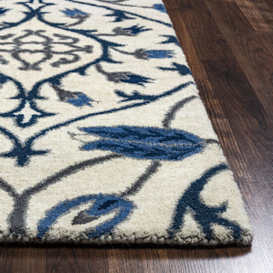 Transitional Hand-Tufted 9'  x  12' Rectangle Rug in Ivory