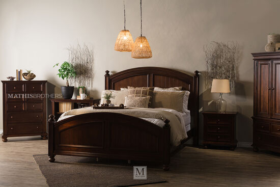 """64"""" Contemporary Curved King Panel Bed in Chocolate"""