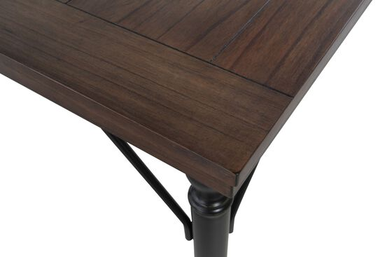 """Contemporary 70"""" Plank Top Dining Table in Dark Brown"""