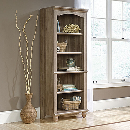 Contemporary Adjustable Shelf Open Library in Salt Oak
