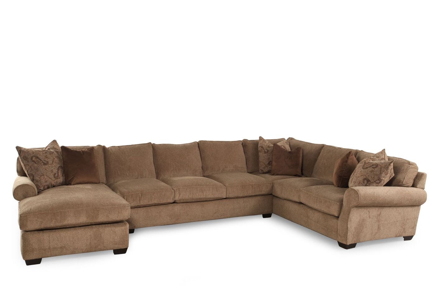 Three piece traditional sectional in golden brown mathis for Traditional sectional