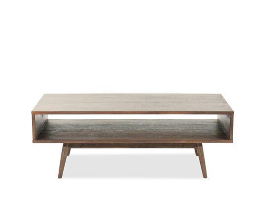 Open Shelf Mid-Century Modern Rectangular Cocktail Table in Brown