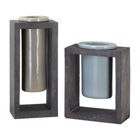 Two-Piece Geometric Crackled Vases