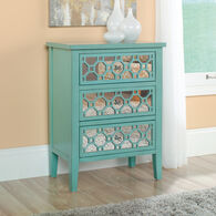 31.5'' Mirrored Drawers Contemporary Accent Storage Chest in Seafoam Green