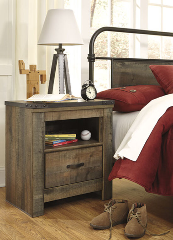 Casual Planked One-Drawer Youth Nightstand in Brown