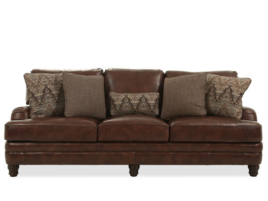 """Leather 96.5"""" Three-Seater Sofa in Brown"""