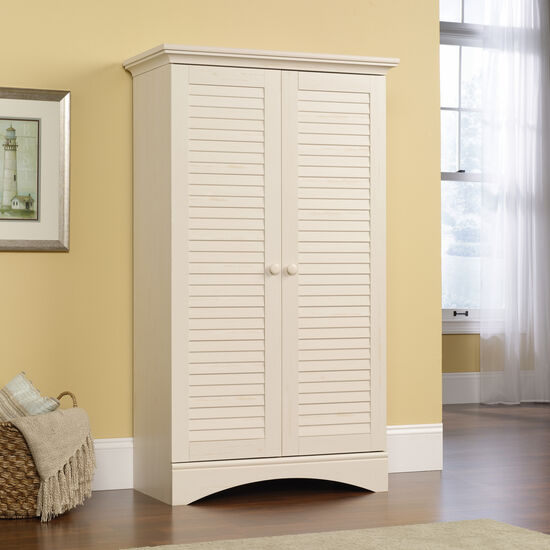 Two-Door Cottage Storage Cabinet in Antiqued White