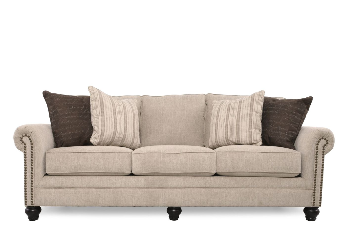 Casual Nailhead Accented 90 Sofa In Linen Mathis Brothers Furniture