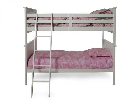 Contemporary Youth Twin Over Twin Bunk Bed with Ladder in Light White
