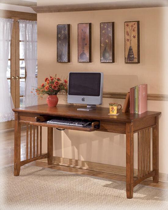 """60"""" Large Mission Leg Desk in Medium Brown Oak"""