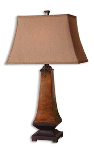 Mottled Bell Shade Table Lamp in Brown