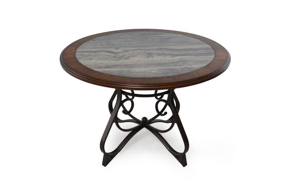 """Traditional 44.5"""" Round Dining Table in Medium Brown"""