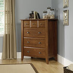 "43"" Traditional Paneled Four-Drawer Chest in Oiled Oak"