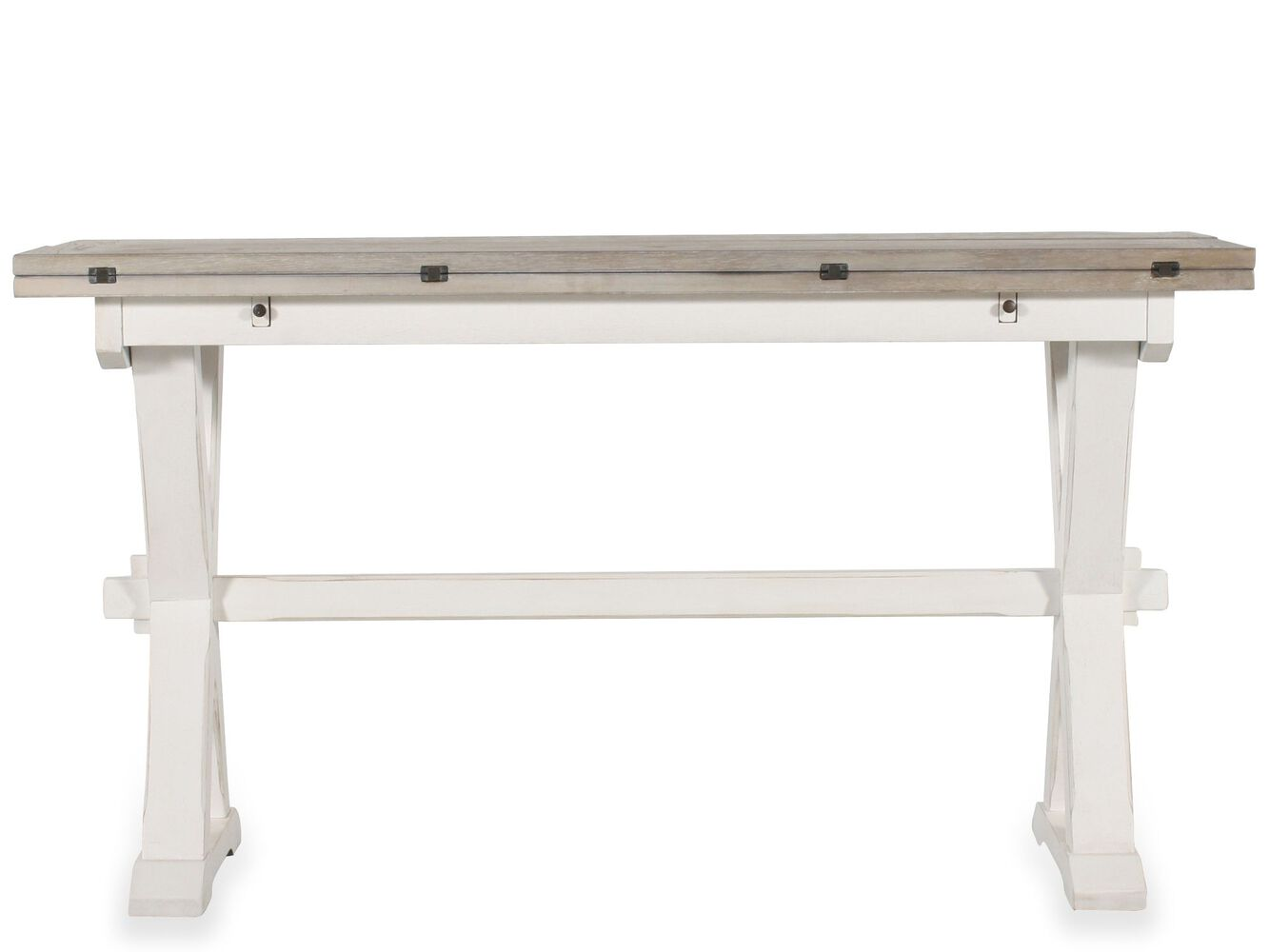 Drop leaf country console table in white mathis brothers drop leaf country console table in white geotapseo Choice Image