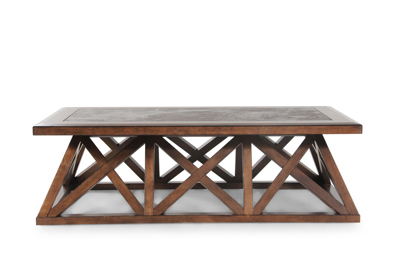 Lattice Base Contemporary Cocktail Table In Brown Mathis Brothers Furniture