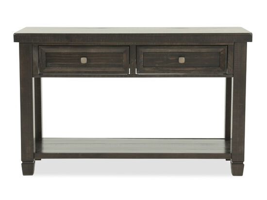 Two-Drawer Traditional Sofa Table in Brown