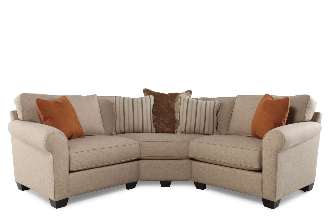 Three piece contemporary sectional in sand mathis for Sectional sofa mathis brothers