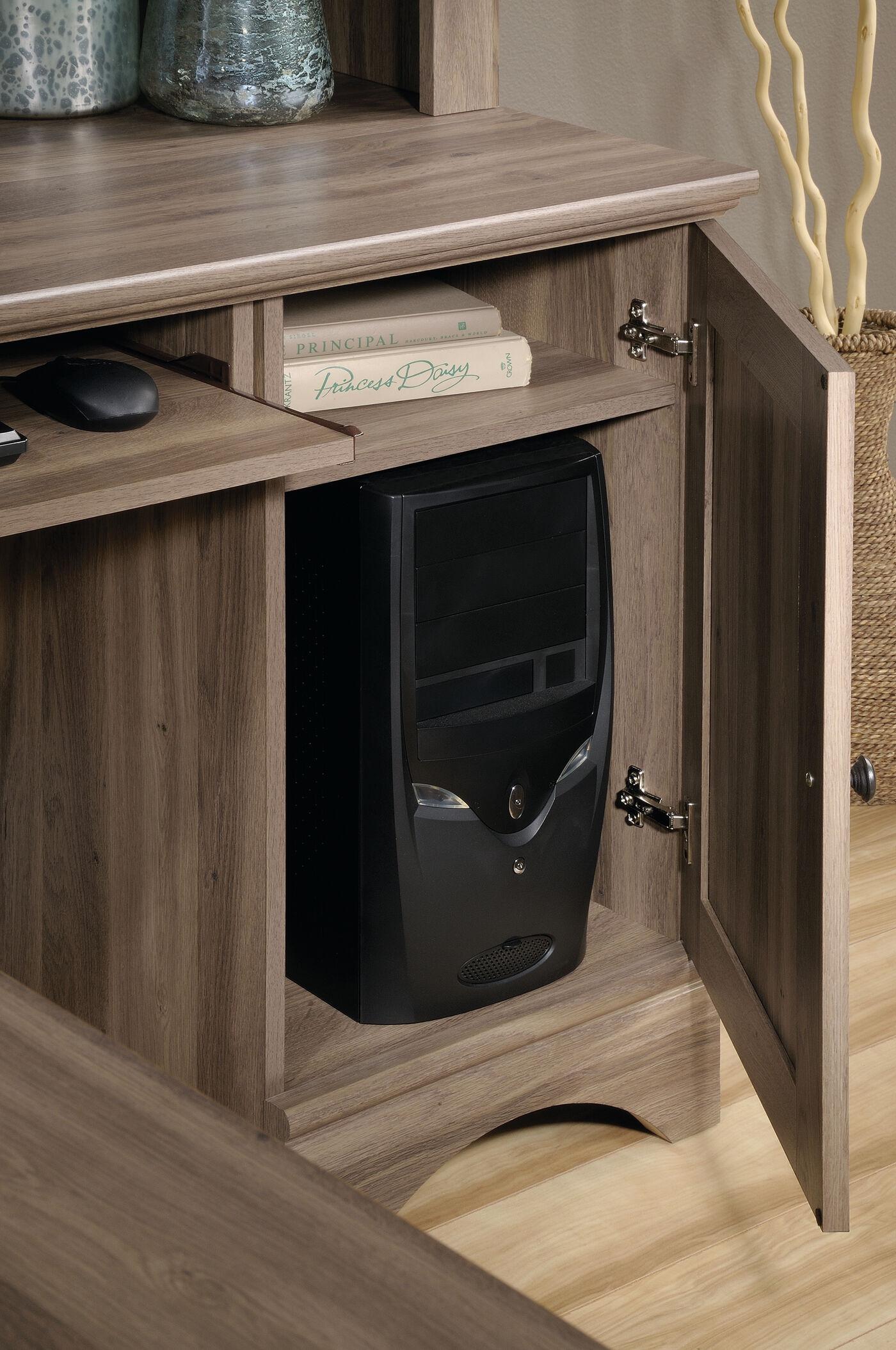 Traditional Three Drawer Corner Computer Desk In Salt Oak