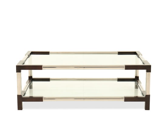 Glass Top Rectangular Cocktail Table in Silver