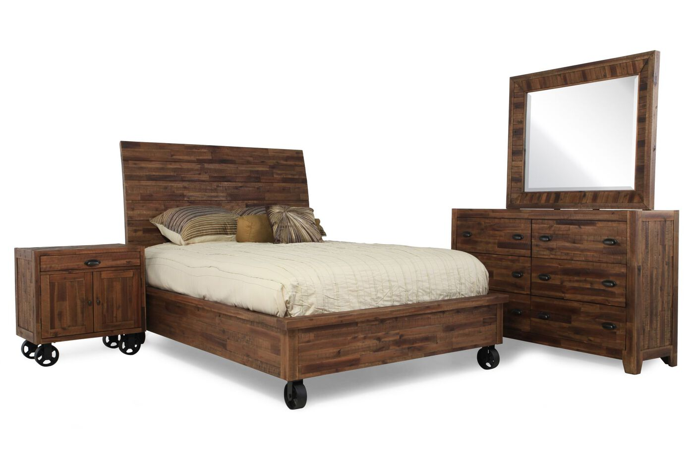 Four piece country bedroom set in dark brown mathis for Bedroom 4 piece set