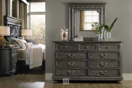 "42"" Traditional Nine-Drawer Dresser in Dark Charcoal"