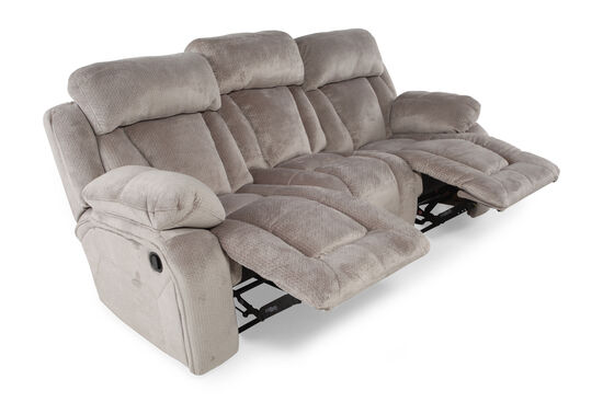 "Microfiber 88"" Reclining Sofa in Pebble"
